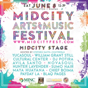 Saturday, June 8, 2019, Mid City Art & Music Festival, on Washington + Rimpau, from 12 PM – 7 PM, FREE! Performances by Sloan Robinson and Beebe Smith-Johnson