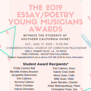 Saturday, Aug 17, 2019 The Sally Bell Mentor Group and the Friends of William Grant Still Present THE 2019 YOUNG ESSAY/POETRY AWARDS MUSICIANS